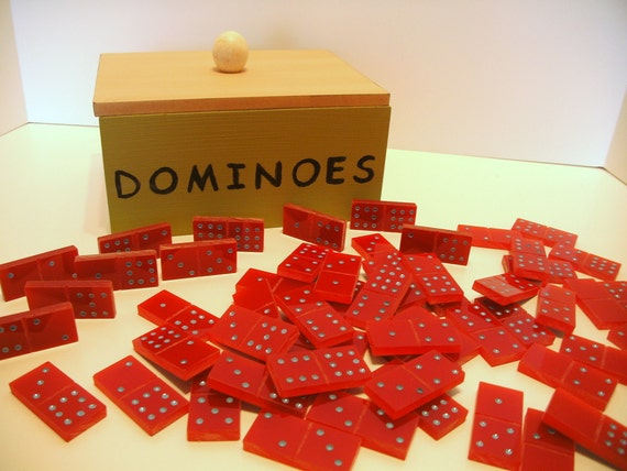 Handmade Dominoes of  Red Acrylic Plexiglass -- Double 9 in Wooden Box
