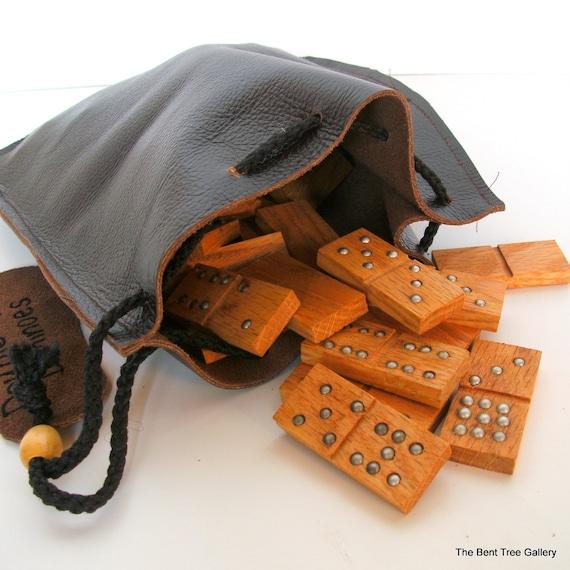 Handmade Dominoes of Oak Wood Double 9 in Leather Bag