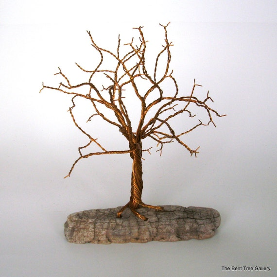 Wire Tree with Driftwood Base and Twisted Brass Coated Wire RESERVED FOR PATTI
