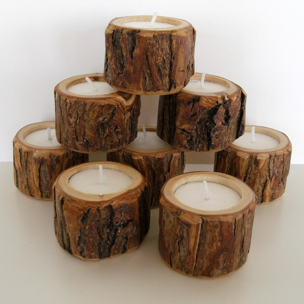 Little dudes 8 rustic candle holders Wood candle holders