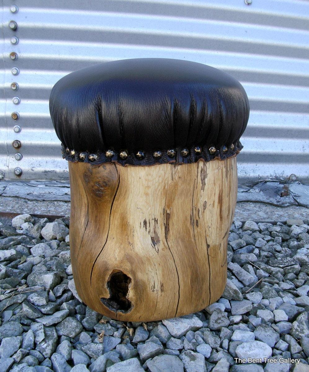Padded Stump Stool Rustic Leather Upholstered Footstool