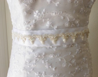 Bridal Sash White Satin Ribbon Pearls Sequins Applique One Size Fits All