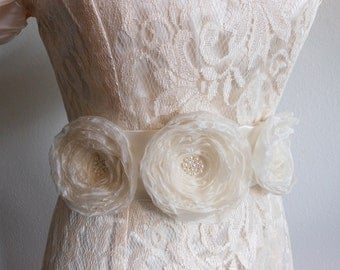 Bridal Sash Ivory Satin with Ivory Organza Handmade Flowers with Pearls