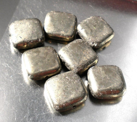 Pyrite, Fools Gold, Square, Golden, Rustic, 12mm, 8ea