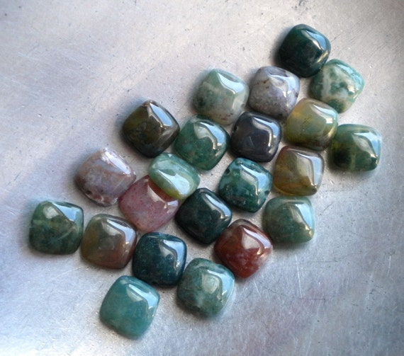 Indian Agate Beads, Smooth Squares, 8mm, 22ea
