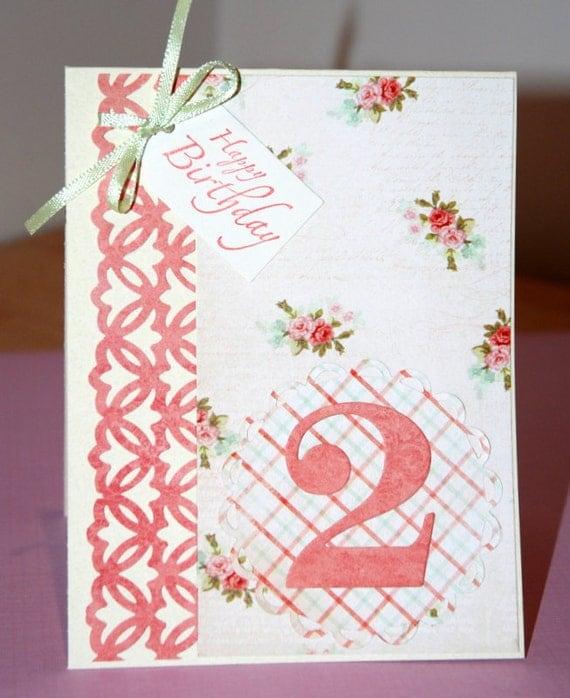 Handmade Birthday Card Girl 2 years Old