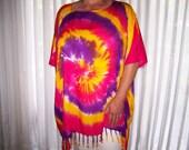 Tie Dye plus size Tunic Sarong Swirl of Vivid Colors