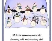 10 Little Snowmen Printable Hands On Book Winter Fun