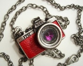 Special Sale 10 OFF -  Vintage Antique Style Camera Pendant Necklace - Red Leather Body