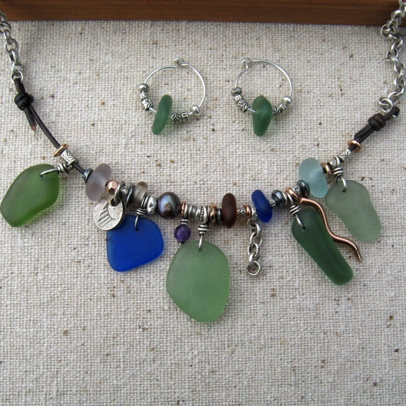 Showpiece Sea Glass Necklace - Genuine Sea Glass - Eco Friendly and People Friendly Componants