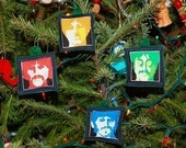 Set of 4 Christmas Ornaments Made with the Beatles Fabric