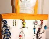 Tote Bag Made With Dr Seuss Bed Sheet Fabric (not a licensed product)