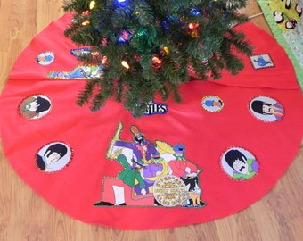 Tree Skirt made with Beatles Yellow Submarine and Sergeant Pepper fabric (not a licensed product)