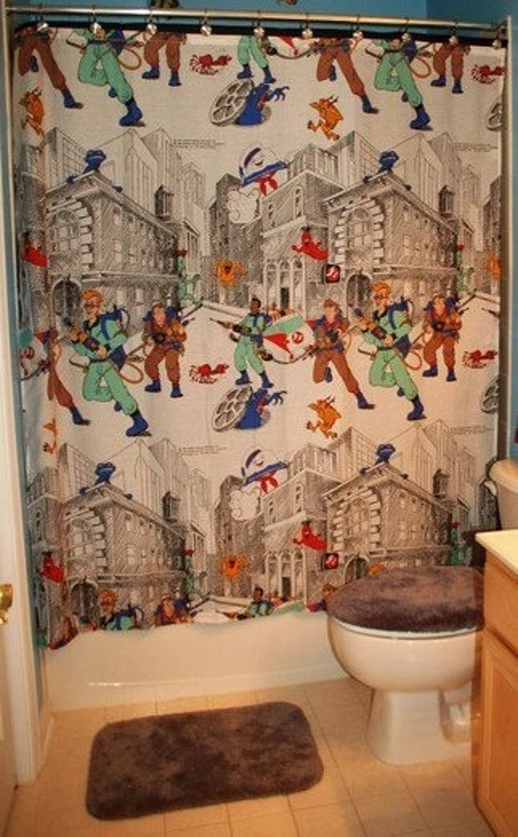 Shower Curtain Made With Vintage Ghostbusters Bed Sheet