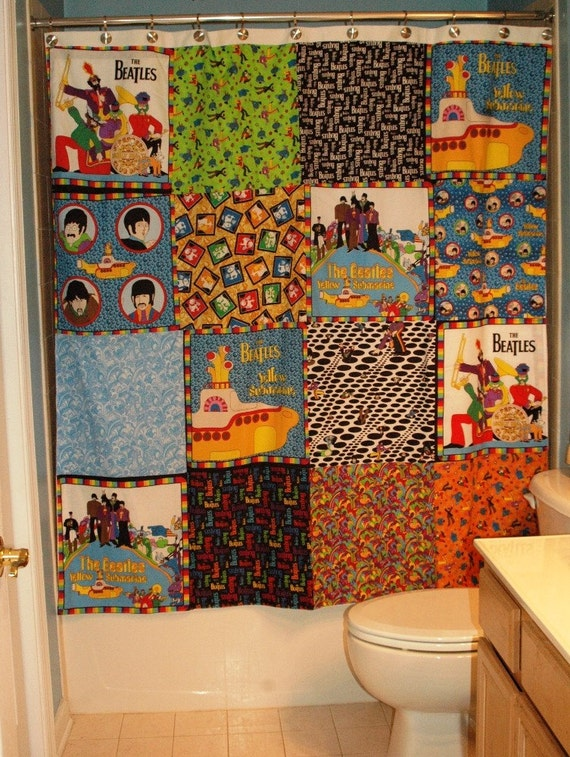 One Of A Kind Handmade Shower Curtain Made With The Beatles
