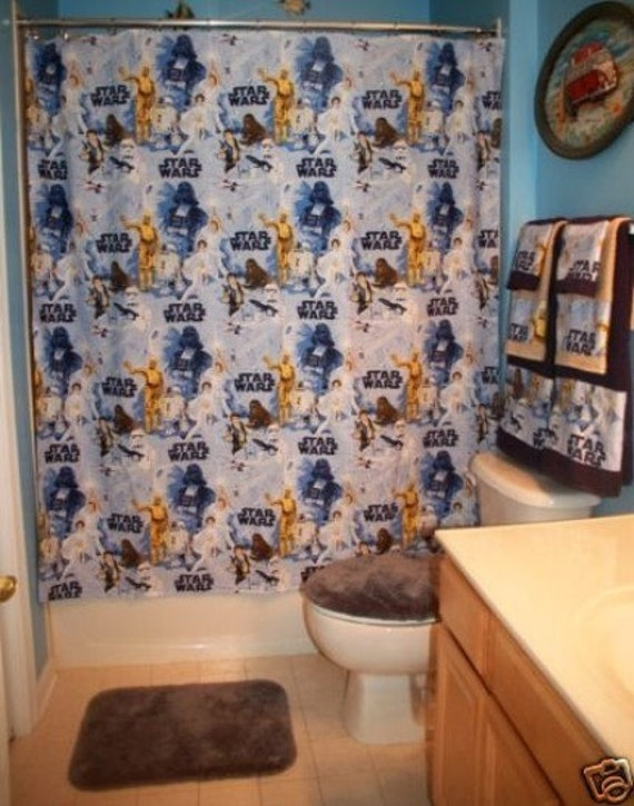 Handmade shower curtain made with star wars bed sheet curtain only