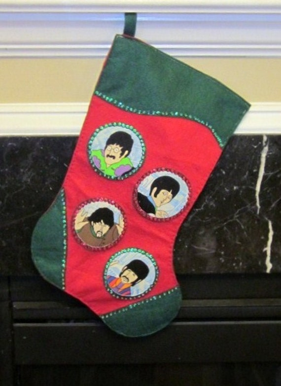 Christmas Stocking Made with Upcycled Beatles Fabric