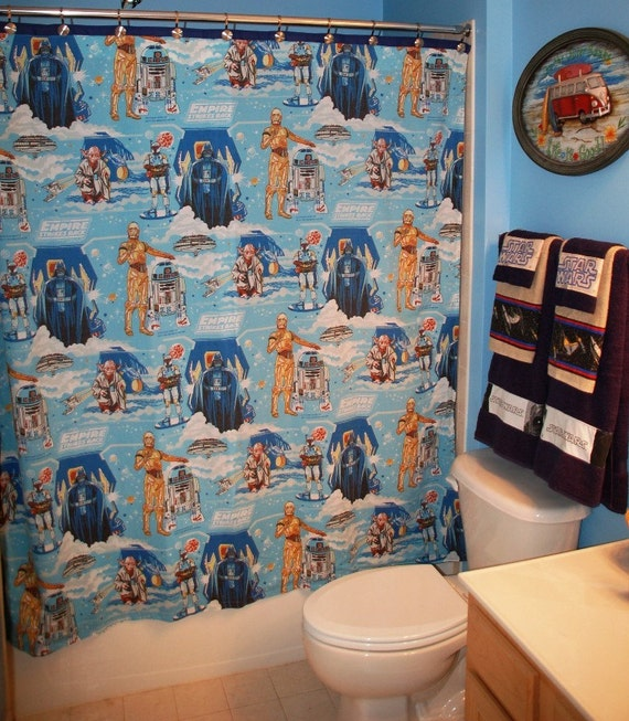 Bath Room Set Made With Vintage Star Wars Bed Sheet Fabric