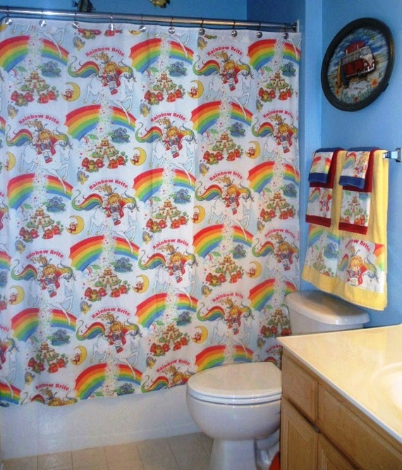 Bathroom Set Made With Vintage rainbow Brite Bed by greatfulthread
