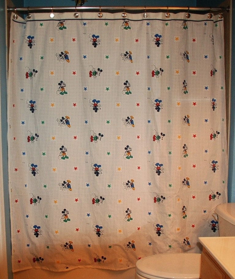 Curtains Ideas Mickey Mouse Shower Curtain : Mickey Mouse Shower Curtain By  Greatfulthread On Etsy