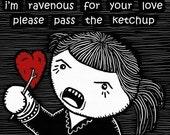 Passion Haiku - GingerDead Goth / Alt Greeting Card w/ Envelope - Valentine / Anti-Valentine / Love