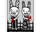 It's Scary Bunnies -  GingerDead Goth / Alternative Greeting Card 5 PACK w/ Envelope - Strange Humor
