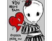 Ennui - Love You More - GingerDead Goth / Alt Greeting Card 5 PACK  w/ Envelopes - Valentine / Anti-Valentine / Love