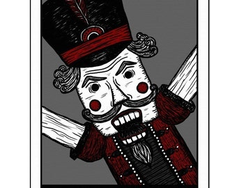 Nutcracker - GingerDead Goth / Alt Greeting Card w/ Envelope - Christmas / Holiday