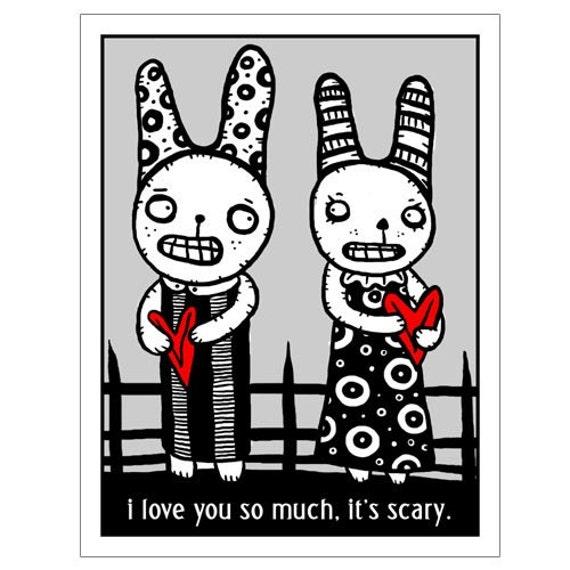 It's Scary -  GingerDead Goth / Alternative Greeting Card w/ Envelope - Strange Humor
