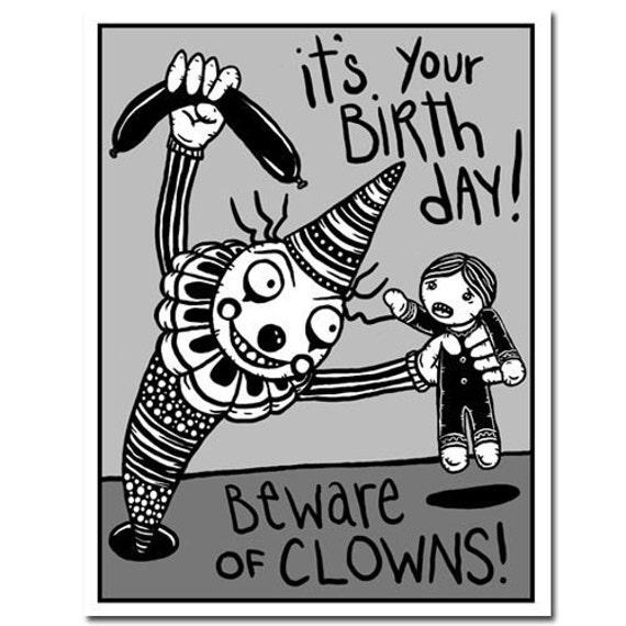 Beware of Birthday Clowns GingerDead Goth Alternative – Alternative Birthday Greetings