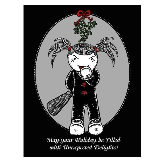 Vendetta - Holiday Surprise - GingerDead Dark Humor Goth / Alternative Christmas Greeting Cards 5 Pack w/ envelopes
