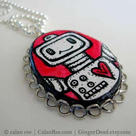 Robot Love - Large Pendant Necklace - Original Pen and Ink Illustration on Polymer Clay OOAK by Calan Ree