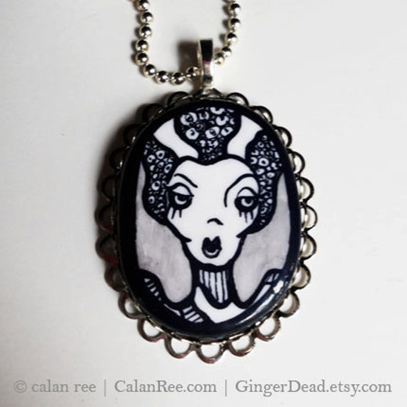 Bride of Frankenstein - Pendant Necklace - Original Pen and Ink Illustration on Polymer Clay OOAK by Calan Ree
