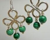 Clover Earrings in Malachite