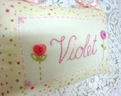 Violet Girl's Hanging Name Cushion Buttons and Spots