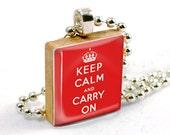 Scrabble Pendant - Motto for Life (PW024) (red) - Scrabble Tile Pendant Charm Necklace