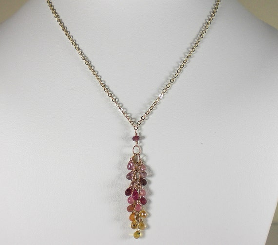 Sapphire necklace, pink, orange, yellow & lavender, gold,journey necklace,sapphire necklace,drop necklace,yellow sapphire,pink sapphire,boho