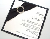 Elegant Wedding Invitation - Black Tie Invitation - Formal Wedding Invitation - Embellished Wedding Invite - Black White - Kaylee Sample