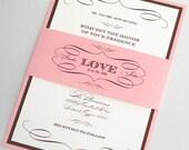 Brooke Vintage Wedding Invitation - Custom Invitation - Vintage Wedding - Modern Invitation - Pink and White Wedding - Sample