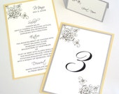 Nicole Floral Wedding Reception Items - Menu, Table Number, Program, Place card Sample Set - White, Yellow, Silver Grey