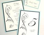 Sofia Scroll Vine Wedding Reception Items - Menu, Table Number, Program, and Place Card Set - Aquamarine, White and Black
