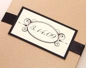 Emma Folded Wedding Invitation Sample - Tan, Black and White