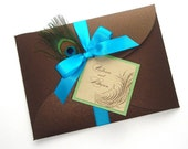 Victoria Peacock Wedding Invitation Sample - Peacock Feather, Gold, Brown, Turquoise, Green