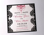 Courtney Wedding Save the Date - Sample - Damask Style - Black, White and Hot Pink