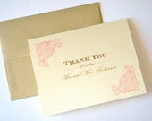 Eva Vintage Personalized Note Cards - Personalized Stationery - Wedding Thank you cards - Vintage Custom Note cards - 10 Pack