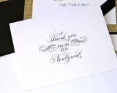 Personalized Newlywed Thank you Note Cards -  Wedding Thank you cards - Custom Note cards - White and Black - 20 Pack