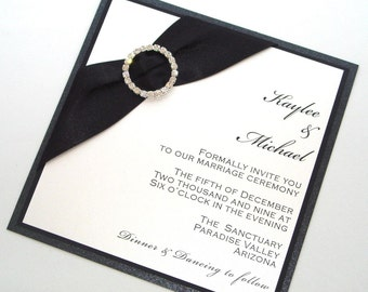 Black tie invitation Etsy