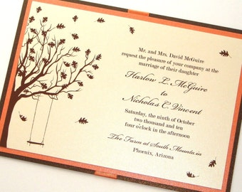 Harlow Fall Wedding Invitation Sample - Ecru, Ivory, Cream, Orange, Brown