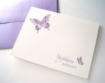 Butterfly Personalized Note Cards - Christmas Gift - Stockin Stuffer - Personalized Stationery - Kids Gift - Friend Gift - 10 Pack