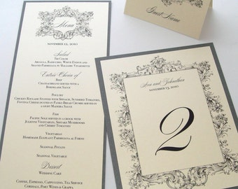 Ava Vintage Wedding Reception Stationery - Menu Place Card Table Numbers Ceremony Program - Ivory, Creme, Pewter Grey
